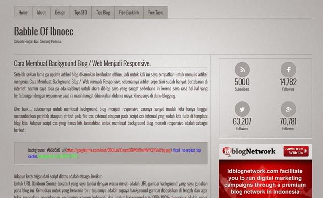 Cara Membuat Background Blog /  Web menjadi Responsive.