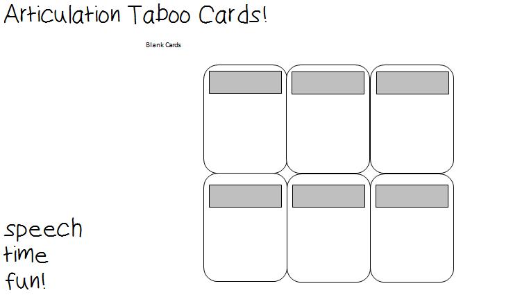 photo regarding Taboo Cards Printable called Articulation Taboo Playing cards! - Speech Season Pleasurable: Speech and