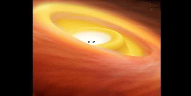 Artist's conception of the warped disk around the protostar