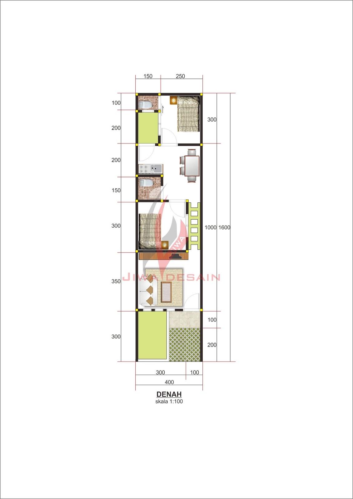 Denah Rumah Lebar 4 Meter Denah Rumah