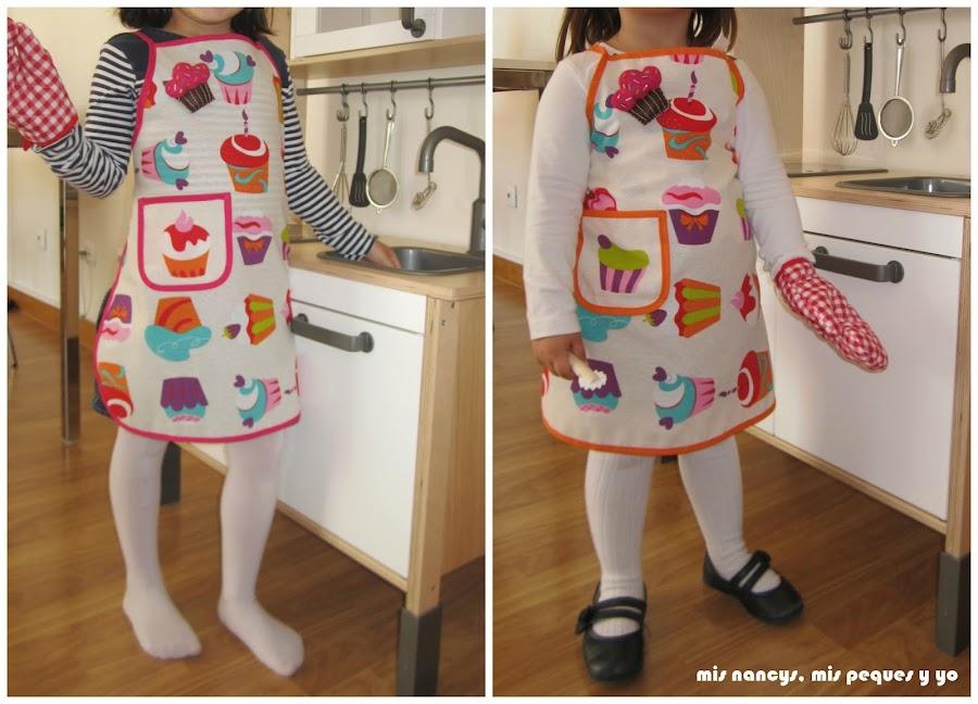 mis nancys, mis peques y yo, delantal con cupcakes para niñas, talla 5 y 3