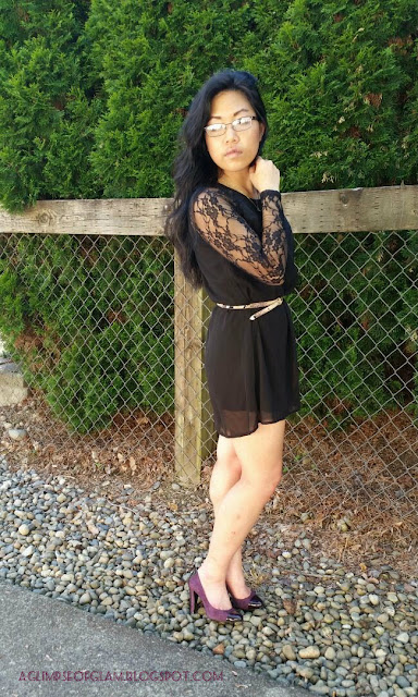 Little Black Dress with Lace Sleeves Banggood - Andrea Tiffany aglimpseofglam