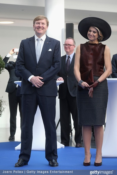 Queen Maxima and King Willem-Alexander of the Netherlands are seen at the Draeger Medical GmbH during their state visit