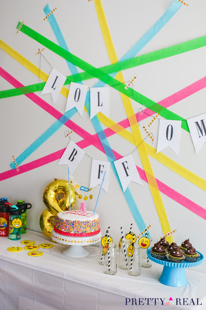 modern emoji party backdrop