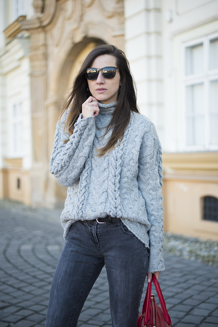 Cable Knit Turtleneck Sweater in Grey