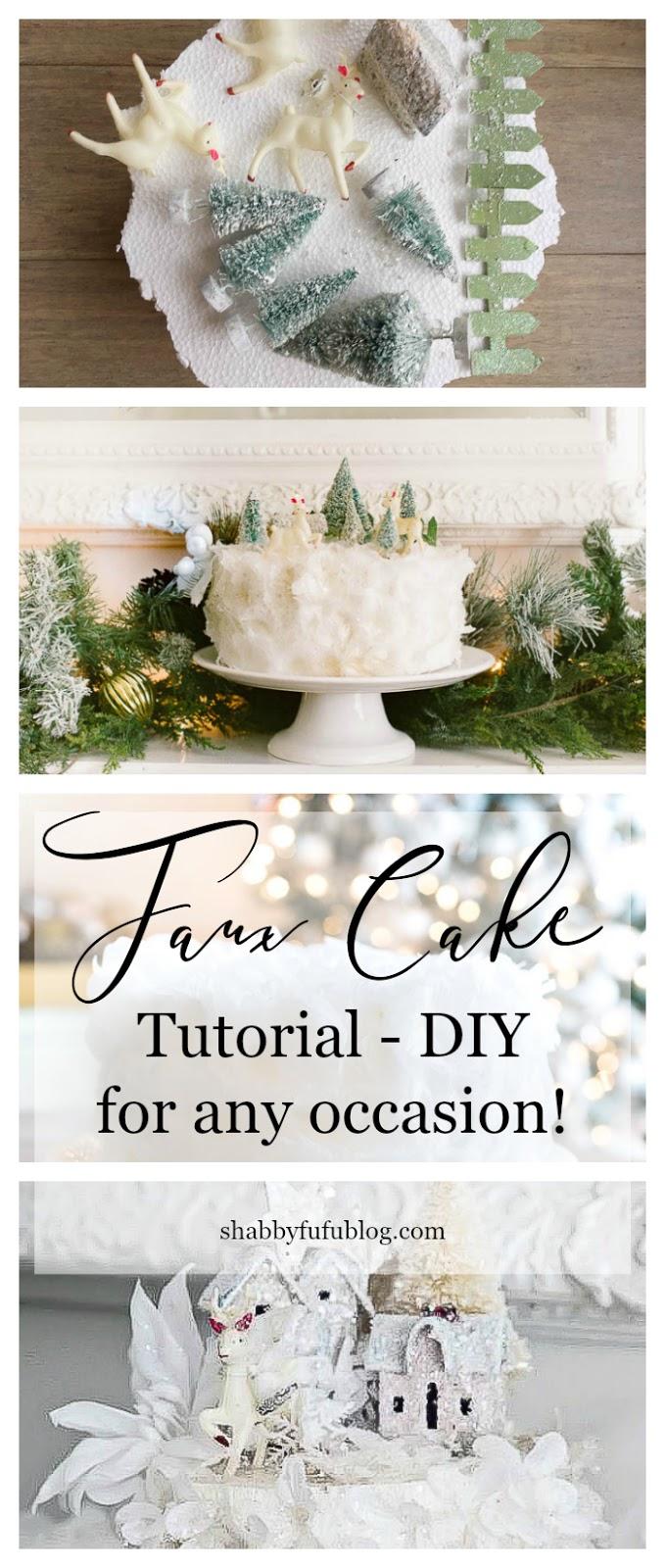 Woodland Faux Rose Petal Cake Tutorial Project - shabbyfufublog.com