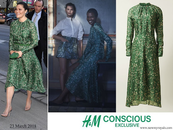 Crown Princess Victoria wore H&M dress from Conscious Exclusive Collection 2018