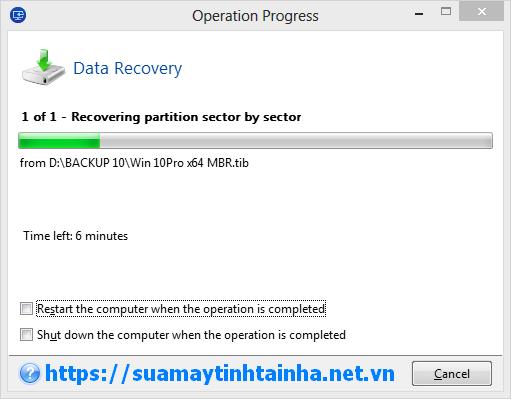 Quá trình bung file TIB