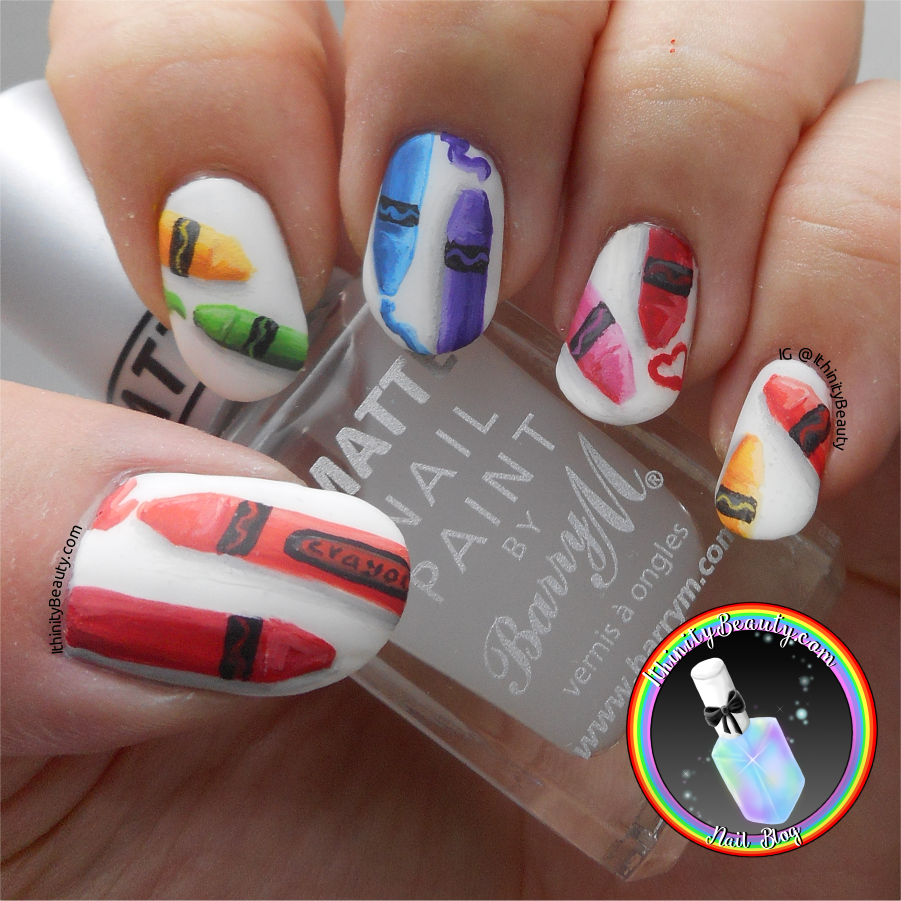 Freehand Crayola Wax Crayon Nail Art | IthinityBeauty.com Nail Art Blog