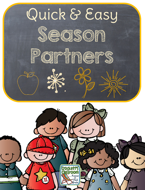 Here's a quick and easy way to get your students into pairs.  At the beginning of the year set them up with 4 other partners, these will be their fall, winter, spring or summer partner.
