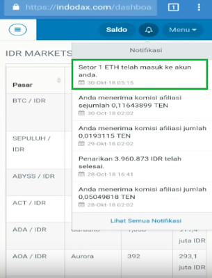 Bukti Pembayaran 1 ETH Gratis dari Aplikasi WhatsAround