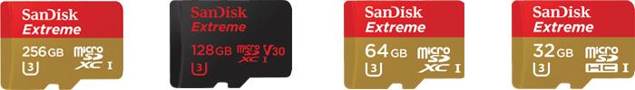 サンディスク「Extreme」マイクロSDカードの商品ラインナップ