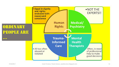 Human Rights  Equal in dignity and rights, endowed with reason and conscience Medical/ Psychiatry  NOT THE EXPERTS!! Mental Health Therapists  Often, in need of professional help to make good decisions Trauma- Informed Care  All too often abused or violated