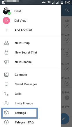 Telegram settings