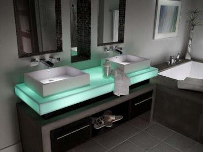 Cupboards Kitchen and Bath: Corian Illumination Series