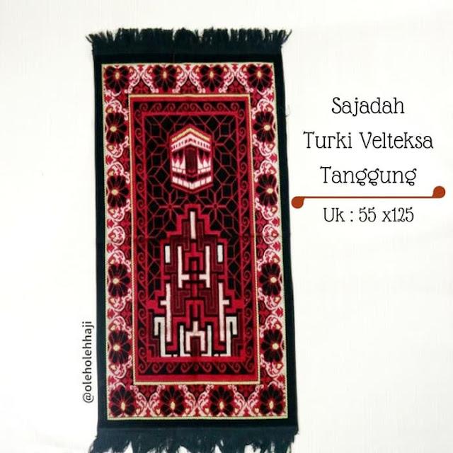 Sajadah Turki Velteksa Tanggung, perlengkapan solat, perlengkapan ibadah haji dan umroh.