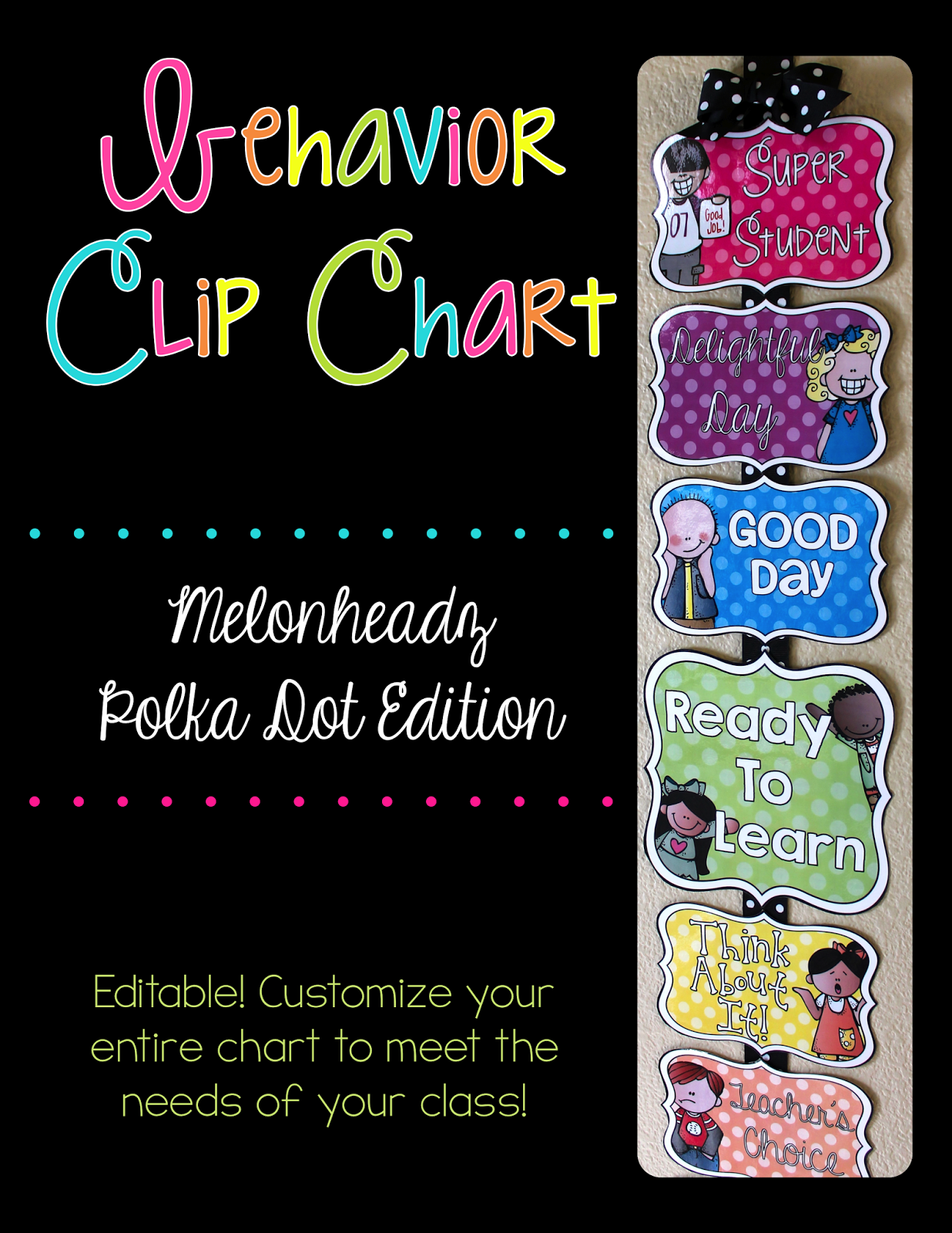 http://www.teacherspayteachers.com/Product/Editable-Behavior-Chart-Melonheadz-Polka-Dot-Edition-1336804
