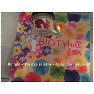 "Bougie ""Vertige solaire"" de la marque Baija contenue dans la Biotyfull box de juillet 2018"