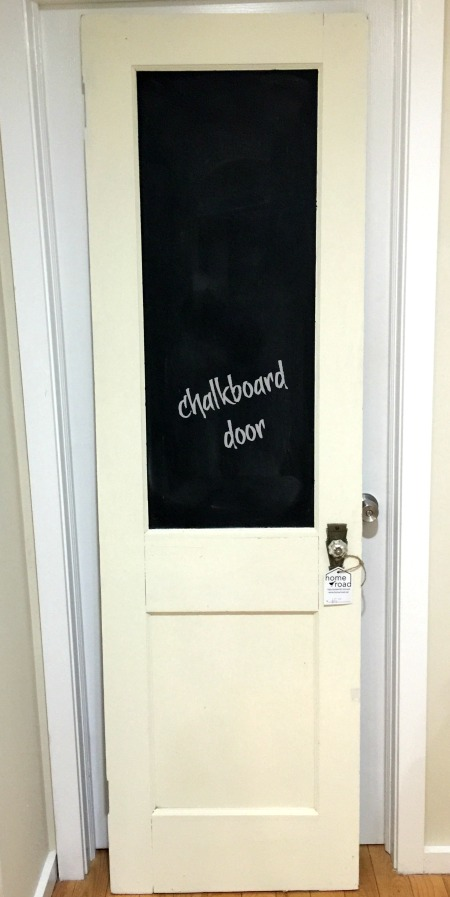 Vintage door turned DIY chalkboard. Homeroad.net