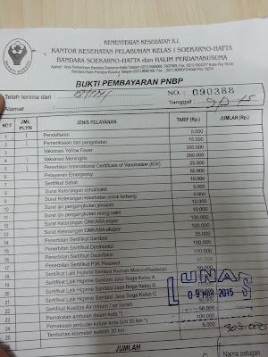 Daftar harga pelayanan di Kantor Kesehatan Pelabuhan (KKP) Soekarno-Hatta