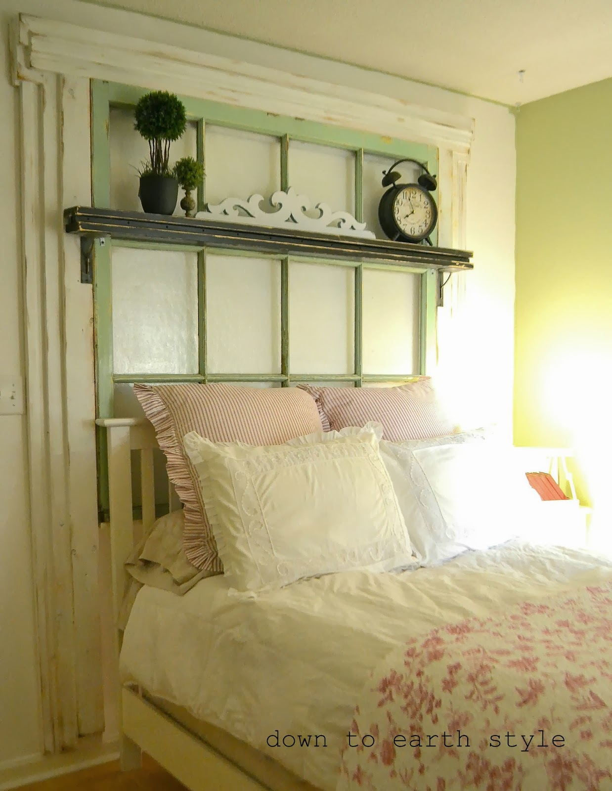 Down To Earth Style Old Window Headboard