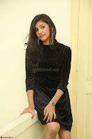 Mounika in a velvet short black dress for Tick Tack Movie Press Meet March 2017 084.JPG