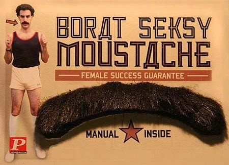 Funny Borat Seksy Moustache Advert - Female success guarantee - manual inside