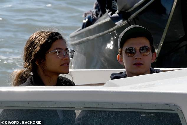 Zendaya goes make-up as she joins Tom Holland on set filming Spider-Man: Far From Home in Venice