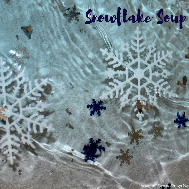 Snowflake Soup. Winter Themed Sensory Play for Kids.