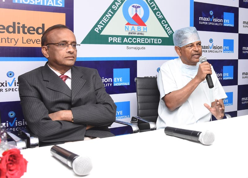 Dr. Kasu Prasad Reddy Founder MaxiVision Eye Hospital addressing the media and Prof. Dasari Prasada Rao also seen in the picture