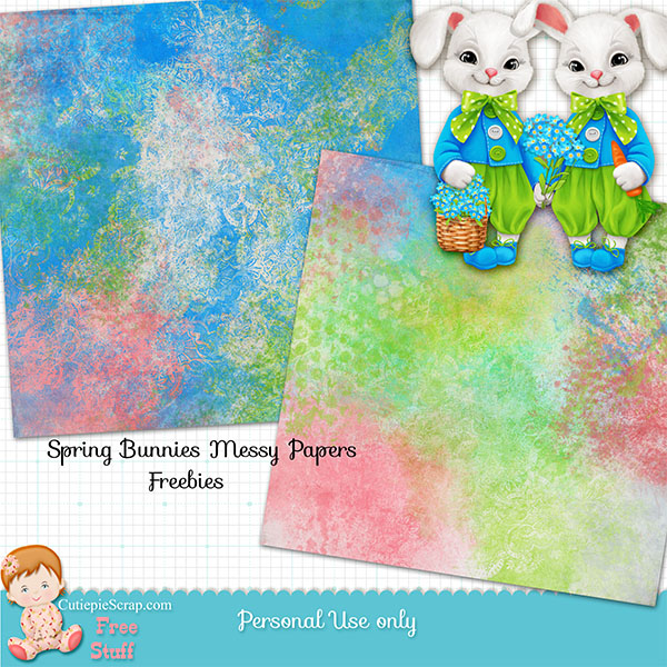 Spring Bunnies Digital Scrapbooking Kit - Spring Bunnies Messy Papers Freebies- $2 Tuesday