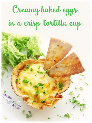 crisp tortilla cup filled with creamy baked eggs
