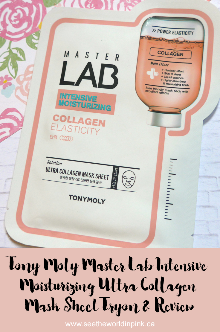 "Mask Wednesday - Tony Moly Master Lab ""Intensive Moisturizing Ultra Collagen"" Mask Sheet"