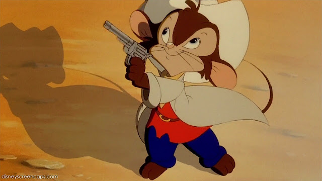 Fievel pointing a gun An American Tail: Fievel Goes West 1991 animatedfilmreviews.filminspector.com