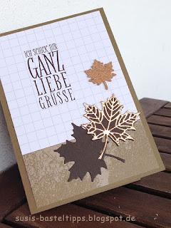 """Stampin' Up! Karte mit dem Kartenset Erinnerungen und mehr """"Farbenspiel"""", Thinlits """"aus jeder Jahreszeit"""" und stempelset """"jahr voller Farben"""" Kupferkarton"""