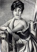 Mujer con langosta, dibujo a carboncillo