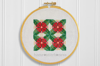 Flowering Pohutukawa in bloom New Zealand Christmas cross stitch pattern hoop art