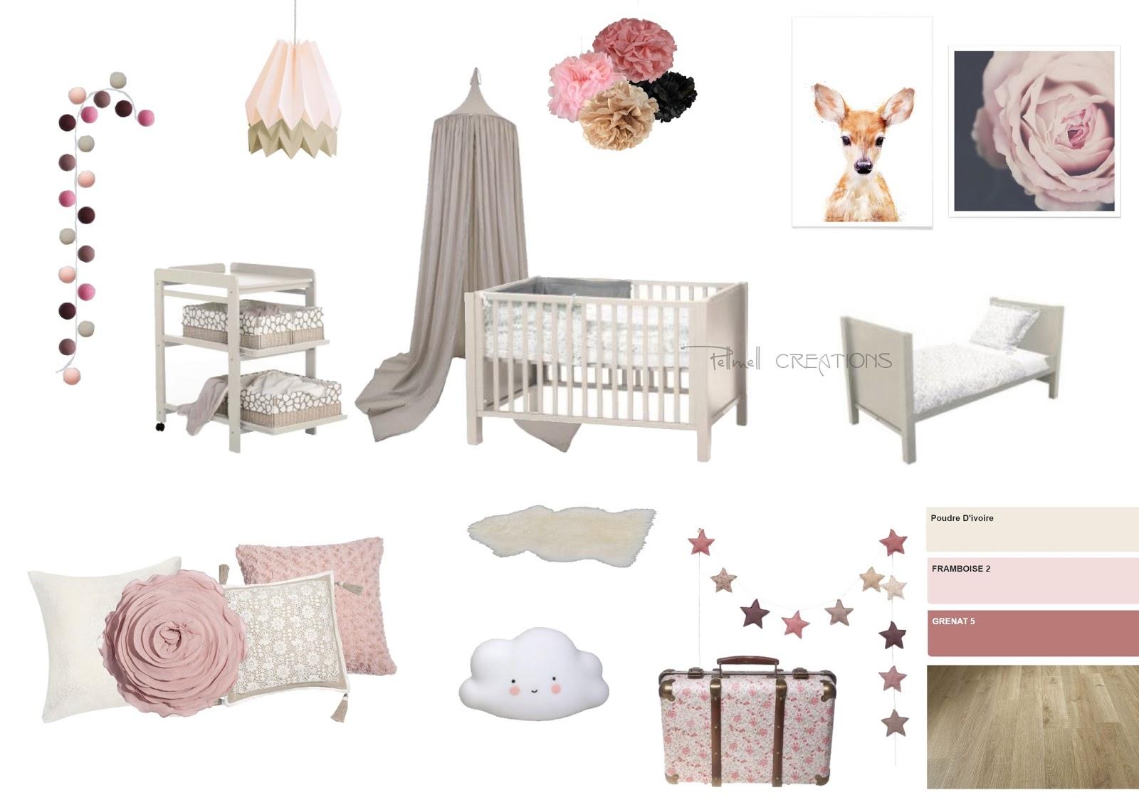 Liste shopping et croquis : une chambre bébé dans les vieux roses ...
