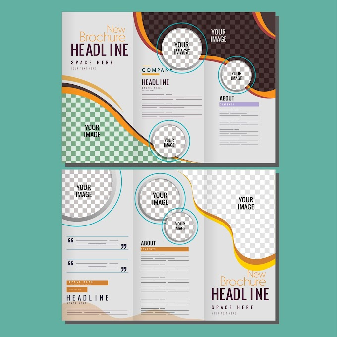 corporate brochure template modern trifold shape free vector