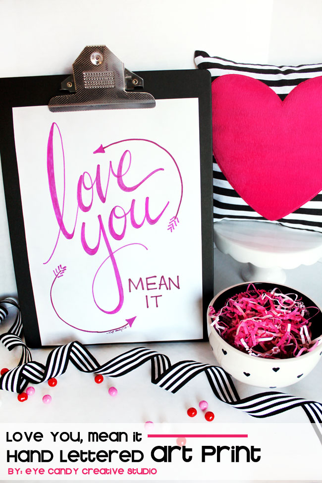 love you mean it, hand lettering, art print, love, black &  white stripes