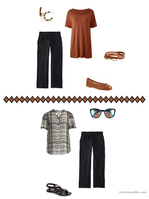 2 ways to wear black pants from a 9-piece warm weather travel capsule wardrobe in black, ivory and brown