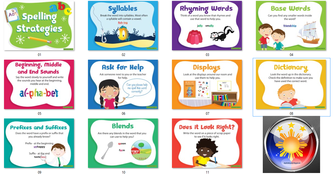 Classroom Design Strategies : Bulletin spelling strategies posters deped tambayan ph