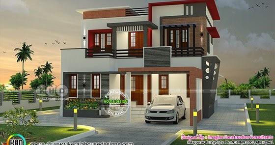 1900 Square Feet 4 Bhk Contemporary Home Kerala Home Design And Floor Plans