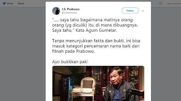 "JS Prabowo Tantang Agum Gumelar Buktikan Ucapannya Soal ""Penculikan"" Aktivis 1998"