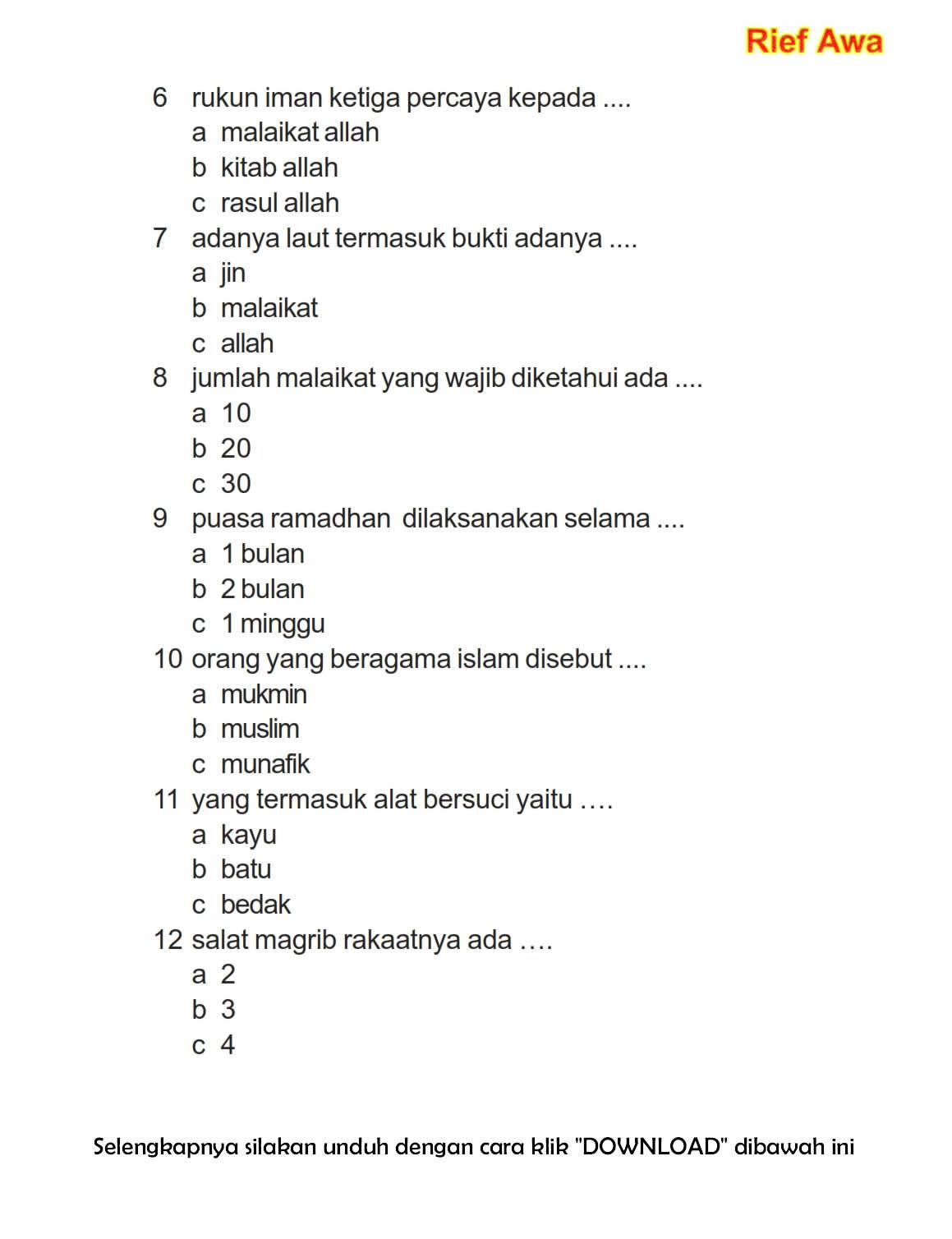 Download Soal Uas Ganjil Pendidikan Agama Islam Kelas 1