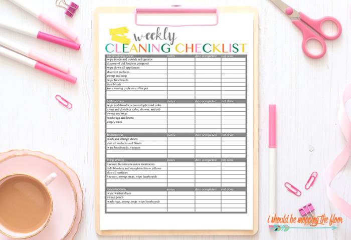 Cleaning Checklist Printable