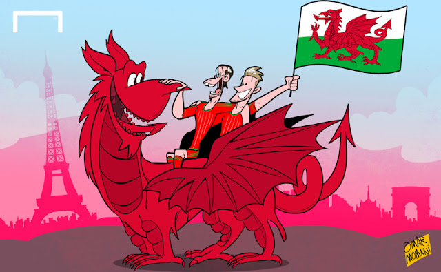 Bale and Ramsey with Wales cartoon