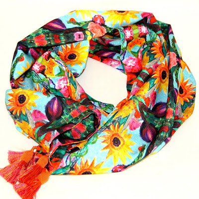 "Artful Apparel,Scarf ""Maize Daisy Scarf"" by Santa Fe Artist and Designer Melanie Birk"