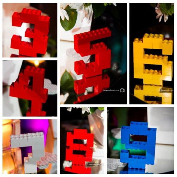 los legos una forma creativa para tu fiesta infantil temtica sirven de centro de mesa y a la vez indican el numero