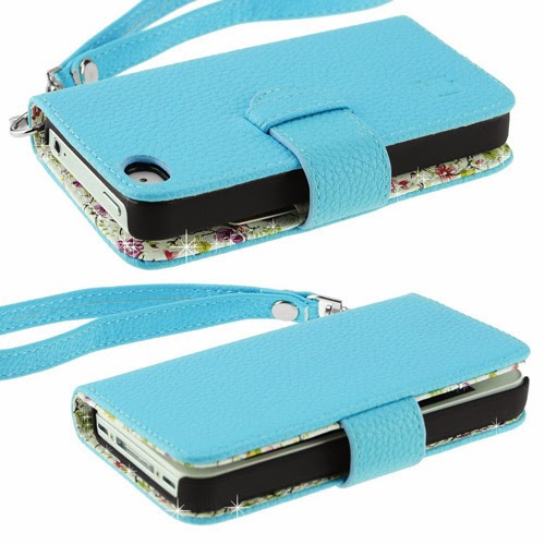 Light blue leather stylish iPhone 4/4s wallet case for women